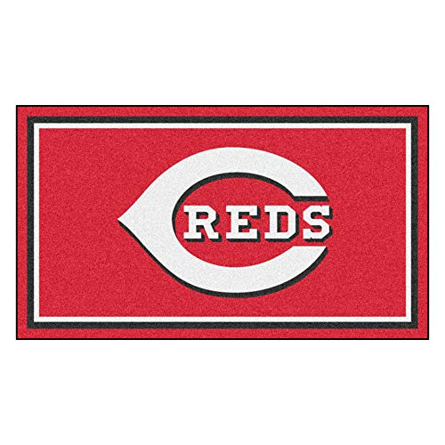 FANMATS MLB Cincinnati Reds 3 Ft. x 5 Ft. Area RUG3 Ft. x 5 Ft. Area Rug, Red, 3' x 5'
