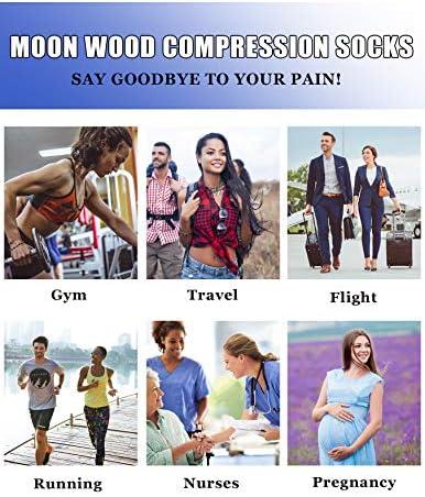 Moon木製ユースサッカー、バスケットボール、野球、実行、旅行用圧縮ソックスSocks for Petiteレディース、S/M
