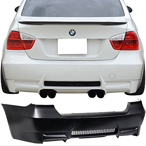 Rear Bumper Cover Fits 2006-2011 BMW E90 | 3-Series M3 PP Rear Bumper Conversion Diffuser Dual Twin Muffler Outlets by IKON MOTORSPORTS | 2007 2008 2009 2010
