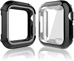 Compatible for iWatch 38mm Case, Toward Rugged Shock Proof Bumper Cover with Soft TPU Screen Protector Case for Watch 38mm Series 3, Series 2, Series 1 (Black Grey + Black, 38mm)