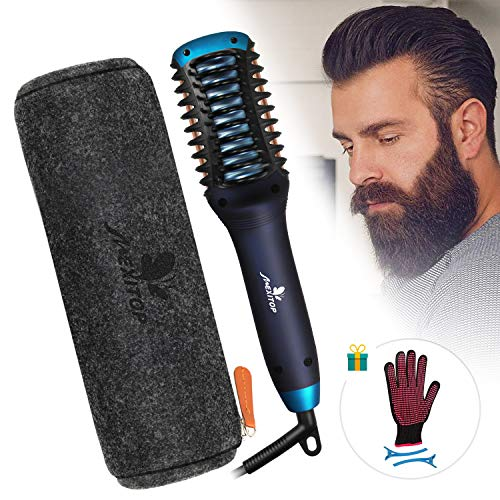 Hair Straightener Curler, Beard Straightener for Men - Mexitop 2 in 1 Hair Straightening/Curling Salon Tool, Lightweight, Dual Voltage, Bonus Glove/Clips/Woolly Cosmetic Bag ($25 Value), Metallic Blue