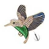 NOUMANDA Hummingbird Brooch Pin Crystal Enamel Gold Emerald Bird Brooches Jewelry Birds Lover (Green Blue)