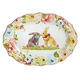 Secret Garden Spring Blooms Scalloped Oval Easter Bunnies Platter, 14-Inch