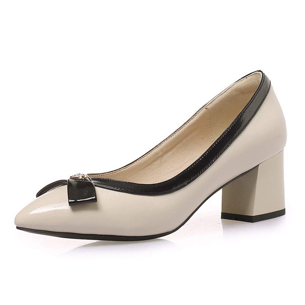 Beige Large Size shoes Small Size Women's shoes Women's Thick with Spring and Summer New OL Work shoes Pointed with Small Code Bridesmaid shoes Casual Small shoes (color   Black, Size   33)