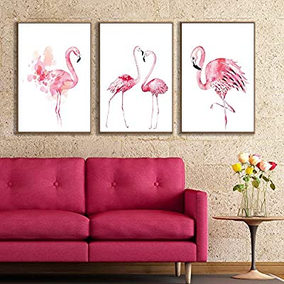 """Framed Canvas Wall Art for Living Room, Bedroom Pink Flamingo Canvas Prints for Home Decoration Ready to Hanging - 16""""x24""""x3 Panels"""