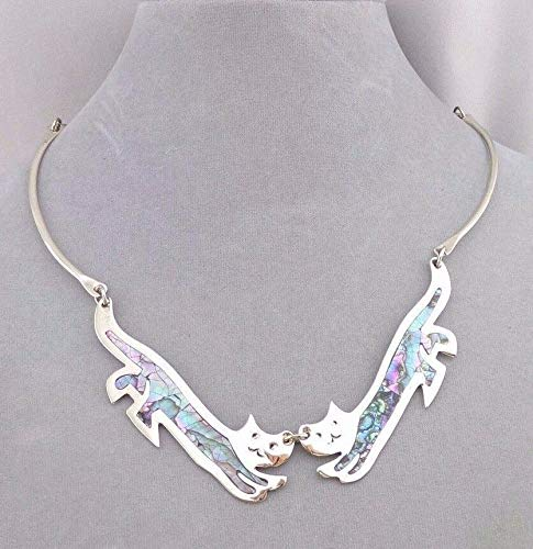 (Cat Necklace For Women Abalone Shell Alpaca Silver Handcrafted Fashion Jewelry NEW)