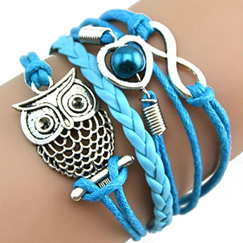 Malltop Elegant Lady Handmade Love Owl Pearl Multilayer Adjustable Braid Winding Wristband Bracelet (Blue)