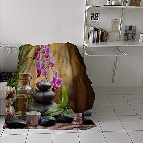 maisi Spa Digital Printing Blanket Warm Welcoming Spa Reception Big Healing Stones Candles Scent Flowers Print Summer Quilt Comforter 62x60 Inch Purple Black and Green
