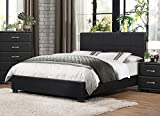 California King Mattress Measurements Homelegance Upholstered Cal King Platform Bed Frame w/Footboard and Headboard Faux Leather, Black