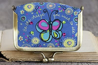"""Natural Life Purple Butterfly Flower Fabric Contact Lens Case """"Be the change you wish to see"""" with Mirror"""