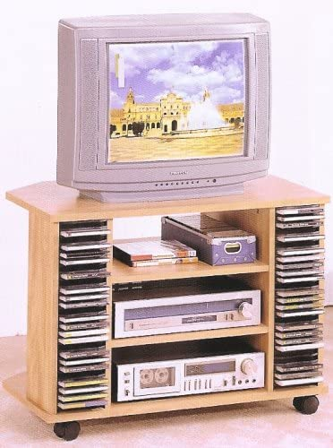 Natural finish tv stand with casters