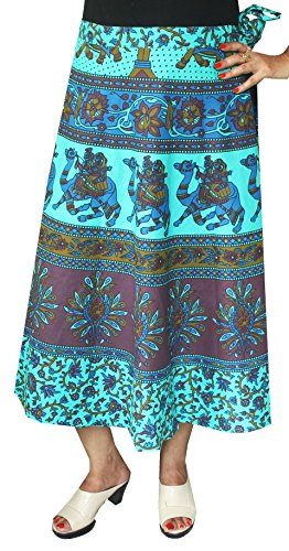 Printed Cotton Long Wrap Skirt India (Blue, One Size) - Hand Block Printed Cotton Skirt