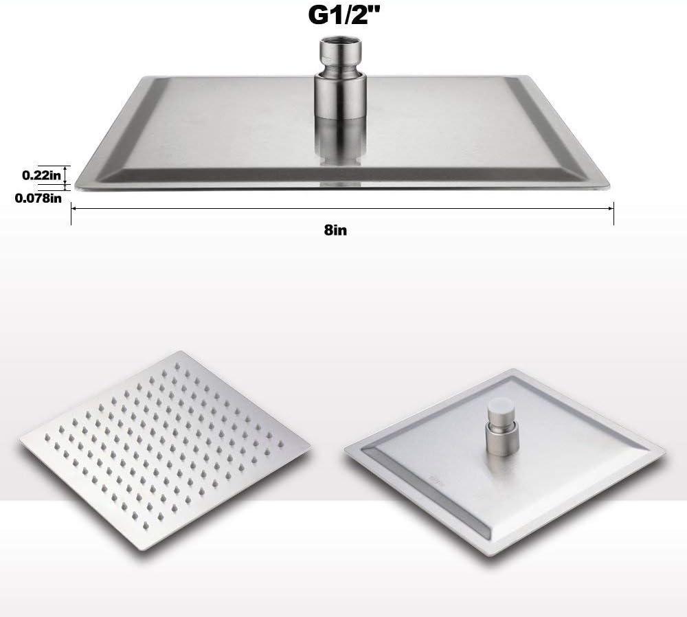 in acciaio inox 304 ultra sottile Soffione doccia quadrato a pioggia potente e ad alta pressione 10 inch BGTOOL