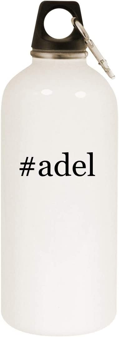 #adel - 20oz Hashtag Stainless Steel White Water Bottle with Carabiner, White