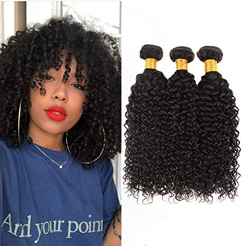 Huarisi Peruvian Bundles Short Curly Hair 8a Grade Human Hair Weave 3 Bundles Afro Kinkys Curly Virgin Hair Extensions Natural Black Color Sew in Weft for Full Head 10 12 14