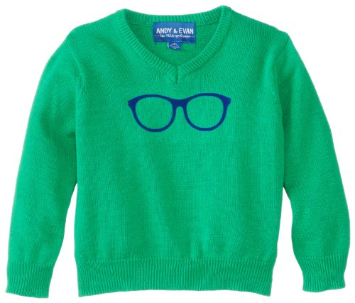 Andy & Evan Little Boys' Glasses Sweater, Green, 7Y