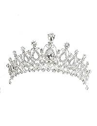 Prom Wedding Party Brides Maid Rhinestone Tiara Crown Headband Clasp Silver