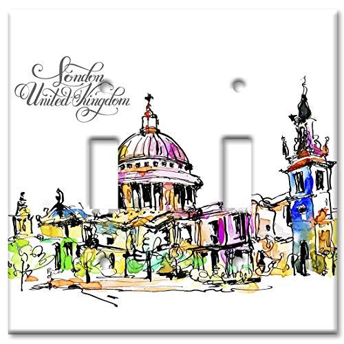 (Art Plates 2 Gang Toggle Wall Plate - London, United Kingdom)