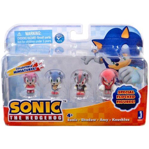 "Sonic the Hedgehog Collectible Sonic, Shadow, Amy, Knuckles Flocked 1"" Mini Figure Multi Pack"