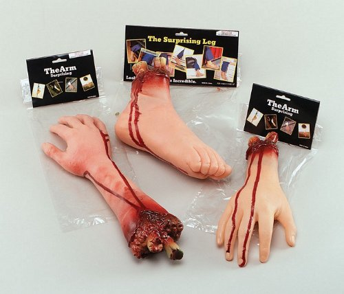 Bristol Novelty GJ250 Cut Off Severed Foot Halloween Prop Set, Red, One Size ()
