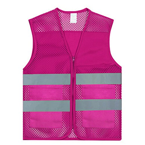 GOGO Unisex 2 Pockets High Visibility Zipper Front Breathable Safety Vest with Reflective Strips-Hot Pink-M -
