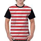 Men's Baseball Short Sleeves,Striped,Horizontal Composition Line S-XXL Casual Blouses Baseball Tshirts Top