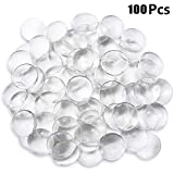 DLOnline 100 Pieces 30mm Transparent Glass cabochons, Clear Glass Dome cabochon, Non-calibrated Round 1.18 inch/30mm for Photo Pendant Craft Jewelry Making