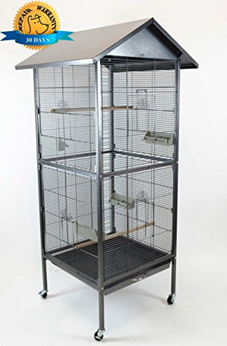 "Homey Pet - 65"" House Shape Bird Cockatoo Macaw Cage with Roof Casters, Feed Door, Perch, Metal Tray. Size: 23 ½"" (W) x 23 ½"" (L) x 54 ¼"