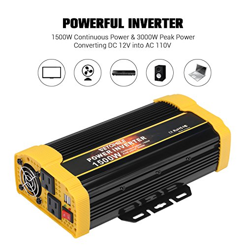 Vetomile 1500W Power Inverter DC 12V to AC 110V Car Inverter with 2.1A Dual USB Car Adapter by Vetomile (Image #6)