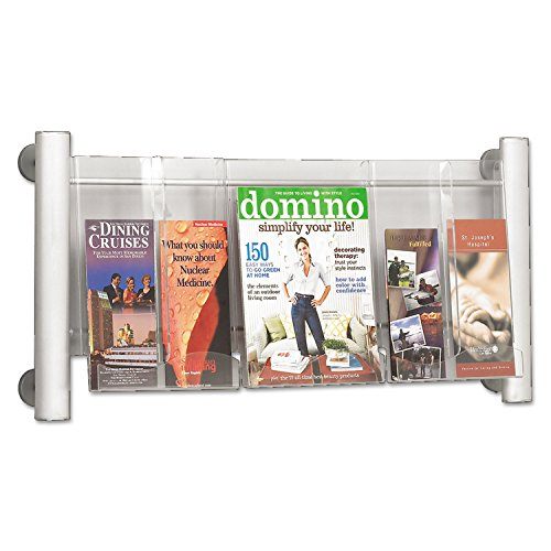 Safco Products 4133SL Luxe Magazine Rack, 3 Pocket, Silver