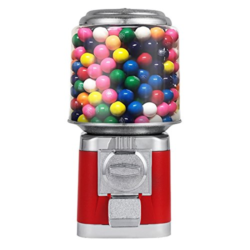 Happybuy Candy Gumball Dispenser All Metal Outside Construction Candy Gumball Bulk Vending Machine 10 lbs Candy capacity Quarter Vending Machine (Red)