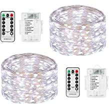 LED String Lights Battery Powered, DOMEZAN 2 Set 16.4ft 50 LED Battery Operated Decorative Lights with Remote Control for Indoor, Patio, Bedroom (Silver Wire Lights, Daylight White)