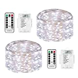 Fairy Lights Battery Powered, DOMEZAN LED String Lights 2 Set 16.4ft 50 LED Battery Operated Decorative Lights with Remote Control for Indoor, Patio, Bedroom (Silver Wire Lights, Daylight White)