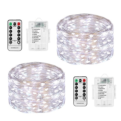 - Fairy Lights Battery Powered, DOMEZAN LED String Lights 2 Set 16.4ft 50 LED Battery Operated Decorative Lights with Remote Control for Indoor, Patio, Bedroom (Silver Wire Lights, Daylight White)