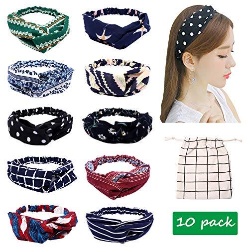 Criss Cross Satin Ribbon - Women Headband Turban Boho Floral Head Wraps Criss Cross Twist Knot Silk Satin Turbans 10 Pack