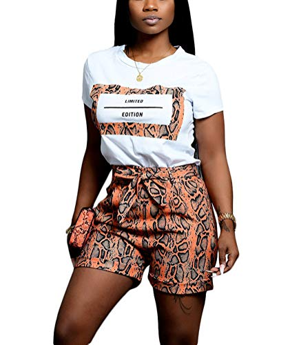 Remelon Womens Casual Letter Snakeskin Print Short Sleeve T Shirts Top Tie Waist Shorts Set 2 Piece Outfits Romper Jumpsuits Orange S