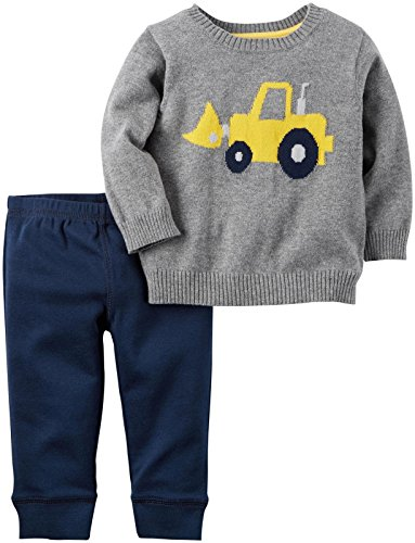Carter's Baby Boys' 2 Piece Sets, Heather Tractor, 3 (Boys Carters 2 Piece)