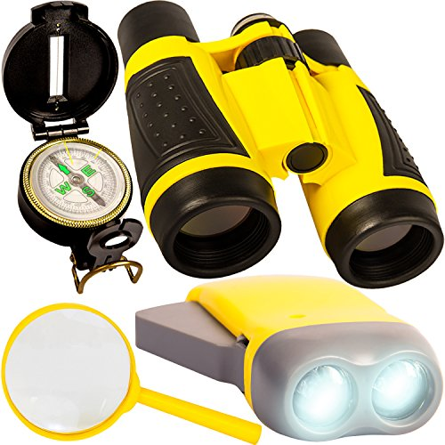 (Back 2 Nature Outdoor Toy Set - Kids Binoculars, Flashlight, Compass, Magnifying Glass. Young Explorer Toys Kit for Playing Outside or in the Yard. 2018 Best Unique Present for boys and girls)