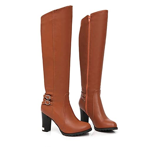 Womens Winter Inside Fur Knee High Heel Fashion Top Zipper Warm Snow Boots  Shoes (5.5 c34cc3ea2a0b