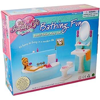 My Fancy Life Dollhouse Furniture - Bathing Fun with Bath Tub and Toilet Playset