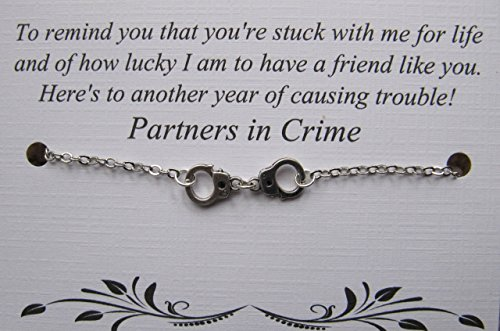 (Handcuff Partners in Crime Bracelet - Friendship Bracelet - Long Distance Best Friend - Best friend)