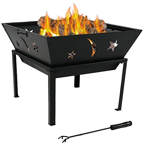 Sunnydaze 22 Inch Outdoor Square Stars and Moons Fire Pit with Spark Screen (Celestial Screen Fireplace)