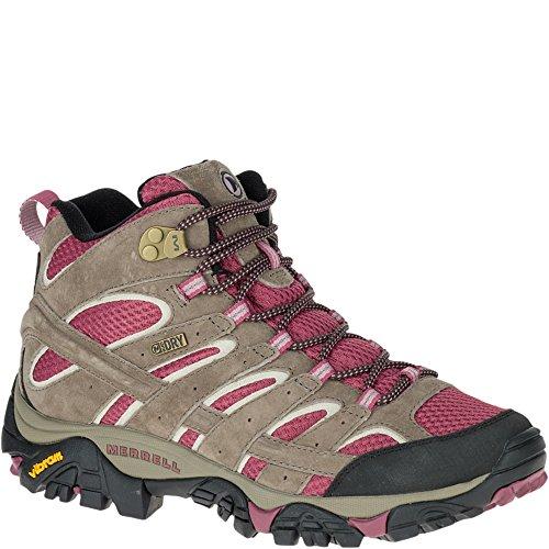 Merrell Women's Moab 2 Mid Waterproof Hiking Boot, Boulder/Blush, 7 M (Womens Boulder)
