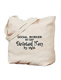 CafePress - Social Worker Devoted Mom - Natural Canvas Tote Bag, Cloth Shopping Bag