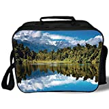 Insulated Lunch Bag,Lake House Decor,Mirror Reflection on Lake by the Forest with Cloudy Sky in Southern Alps,Green Blue White,for Work/School/Picnic, Grey
