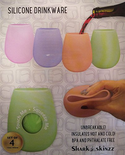 (Shark Skinzz Set of 4 Silicone Drinkware Wine Glass (Pink, Purple, Orange,)
