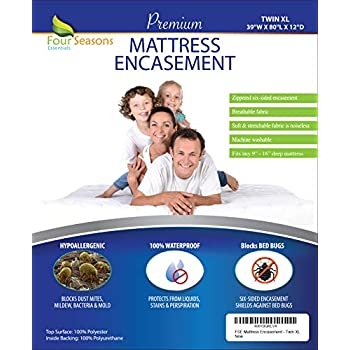 Twin Extra Long (XL) Mattress Protector Bedbug Waterproof Zippered Encasement Hypoallergenic Premium Quality Cover Protects Against Dust Mites Allergens