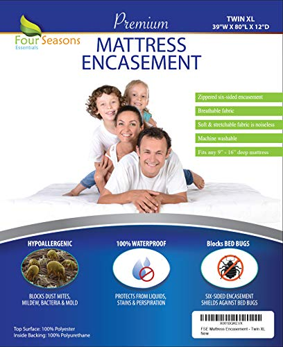 Four Seasons Essentials Twin Extra Long (XL) Mattress Protector Bedbug Waterproof Zippered Encasement Hypoallergenic Premium Quality Cover Protects Against Dust Mites Allergens