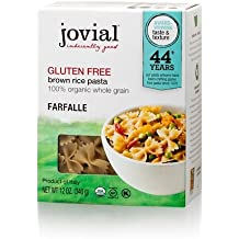 Jovial Foods, Organic Brown Rice (Farfalle Pasta,12 Oz) Pack of 3
