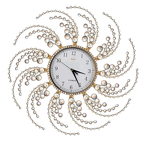 Wall Clock Large Metal Crystal Decorative Circle Fancy Wall Cock Designs for Living Room,Bathroom,Kitchen by Meida